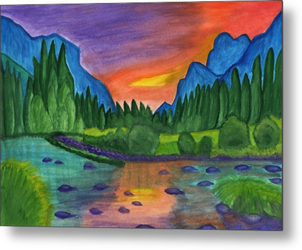 Sunset By The River Metal Print