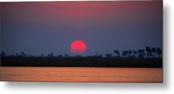 Sunset In Botswana Metal Print