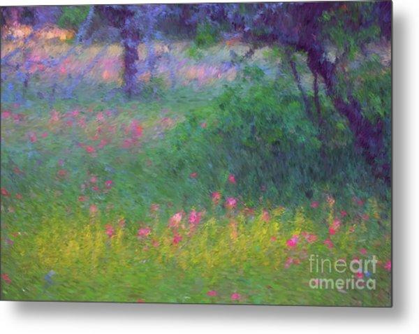 Sunset In Flower Meadow Metal Print