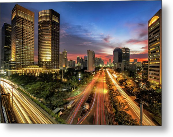 Sunset In Jakarta Metal Print by The Trinity
