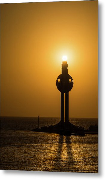 Metal Print featuring the photograph Sunset In Port Jeddah, Saudi Arabia by William Dickman