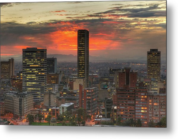Sunset In The City, Hdr Metal Print by Tobntno