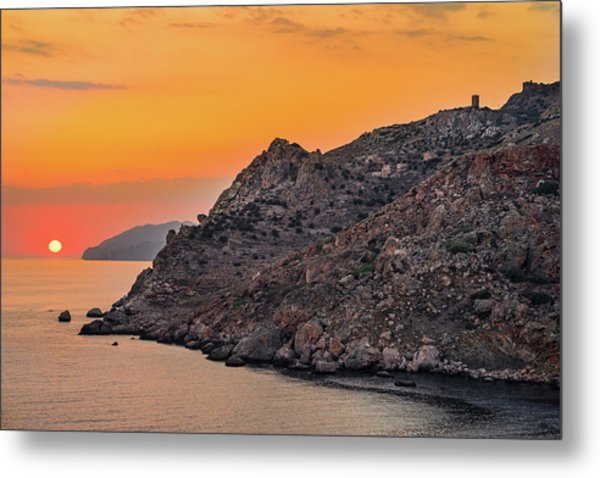 Sunset Near Cape Tainaron Metal Print