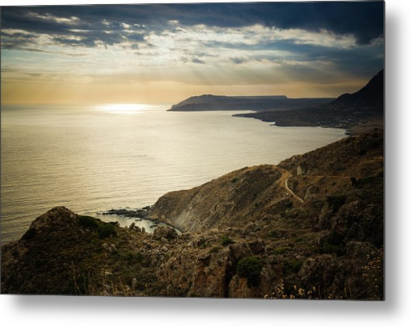 Sunset Near Tainaron Cape Metal Print