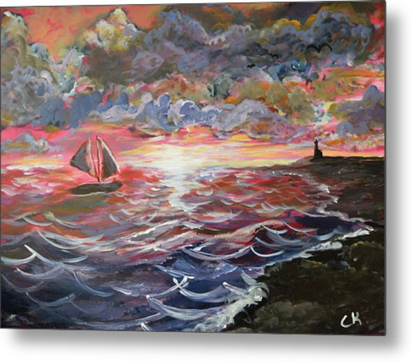 Metal Print featuring the painting Sunset Of The Sea by Chance Kafka