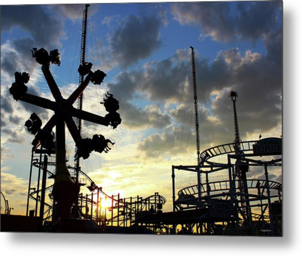 Sunset On Coney Island Metal Print