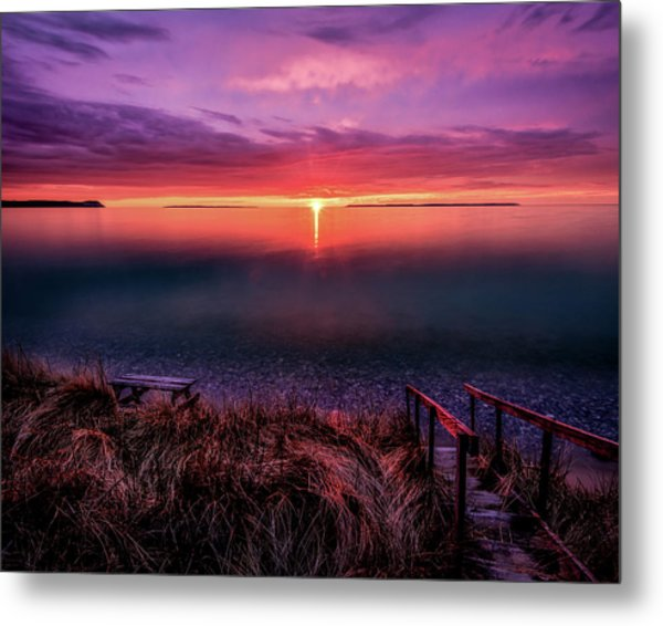 Sunset On Good Harbor Bay Metal Print
