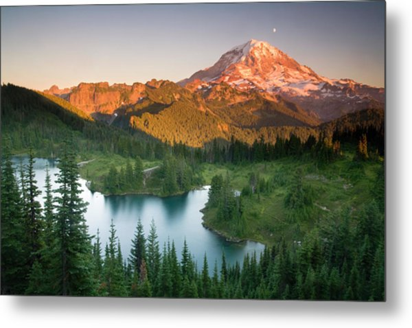 Sunset On Mount Rainer With Eunice Lake Metal Print