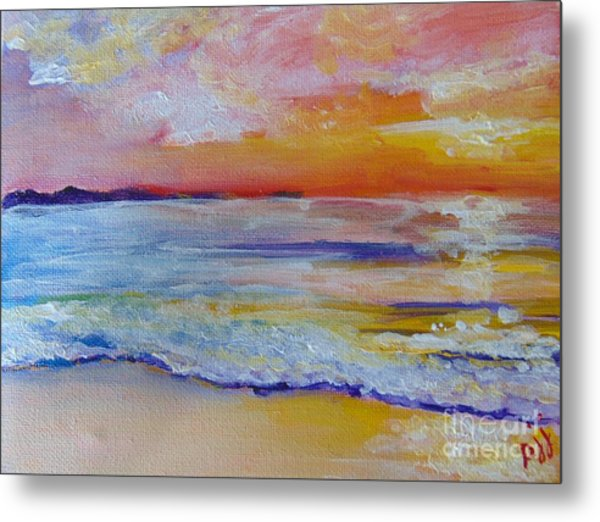 Metal Print featuring the painting Sunset On The Gulf by Saundra Johnson