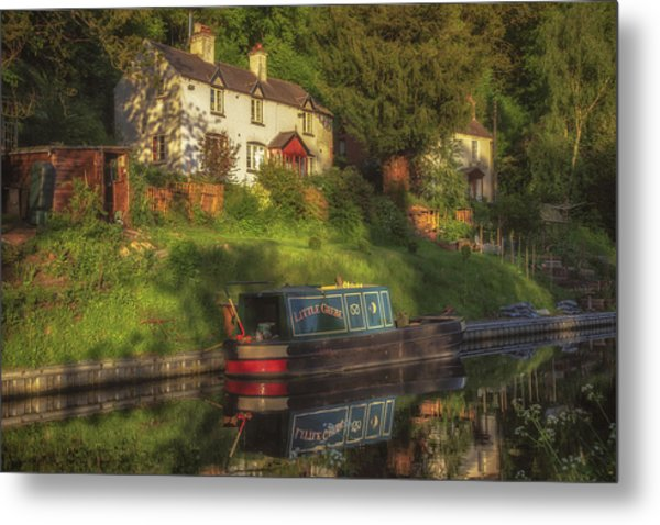 Sunset On The Kinver Canal Metal Print