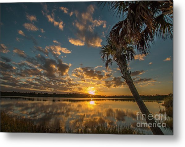 Metal Print featuring the photograph Sunset On The Pond by Tom Claud