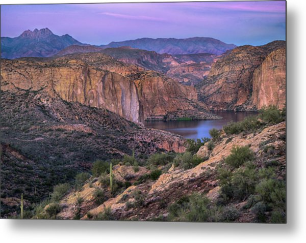 Sunset Over Canyon Lake And Four Peaks Metal Print by Dave Dilli