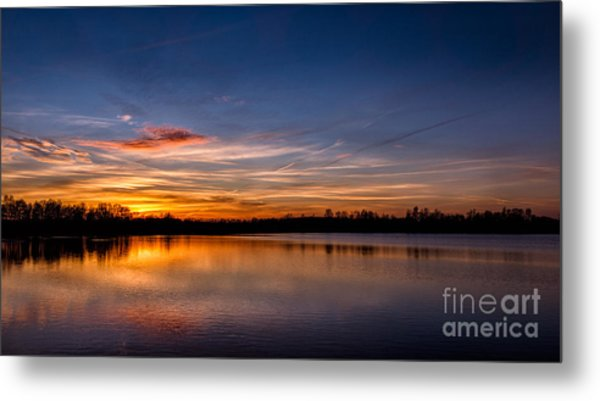 Sunset Over Laupheim Quarry Metal Print