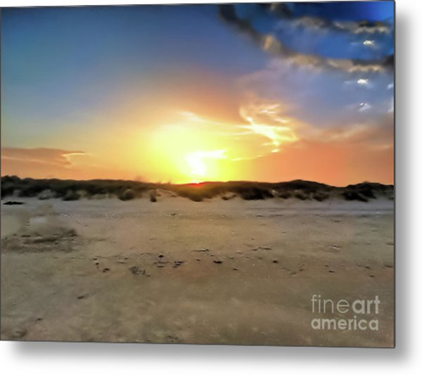 Sunset Over N Padre Island Beach Metal Print