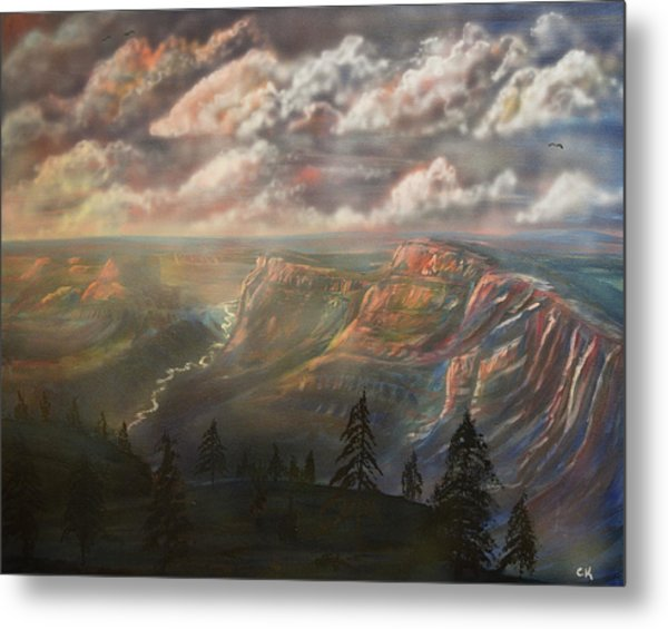 Metal Print featuring the painting Sunset Over The Grand Canyon At Desert View Point by Chance Kafka