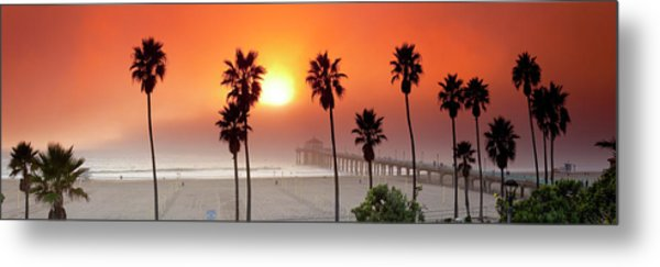 Sunset Over The Marine Layer At Manhattan Beach Pier. Metal Print