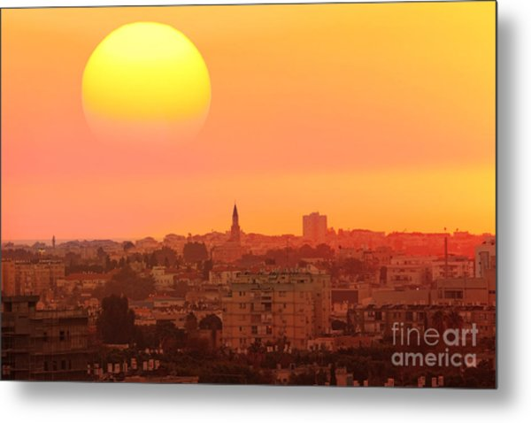Sunset Over The Town.old City Of Tel Metal Print