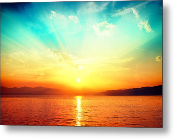 Sunset Over Water Metal Print by Alexsava