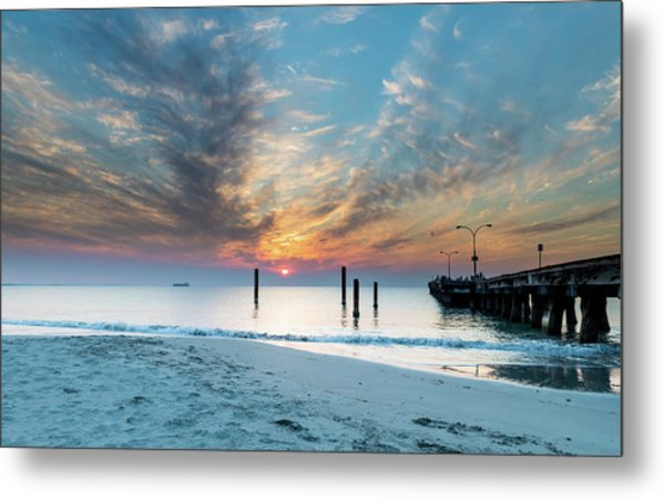 Sunset Seascape And Beautiful Clouds Metal Print