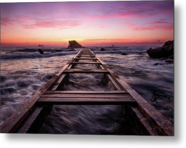Sunset Shining Over A Wooden Pier In Livorno, Tuscany Metal Print