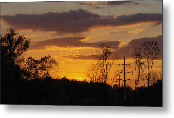 Sunset With Electricity Pylon Metal Print