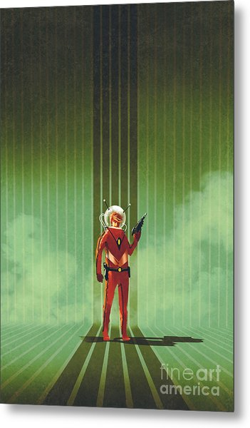 Super Hero In Red Suit Holding Gun Over Metal Print by Tithi Luadthong