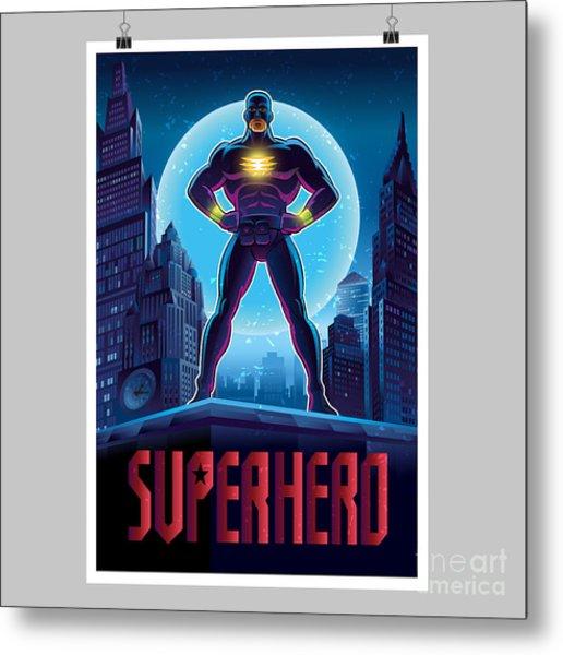 Superhero In Action. Superhero In The Metal Print