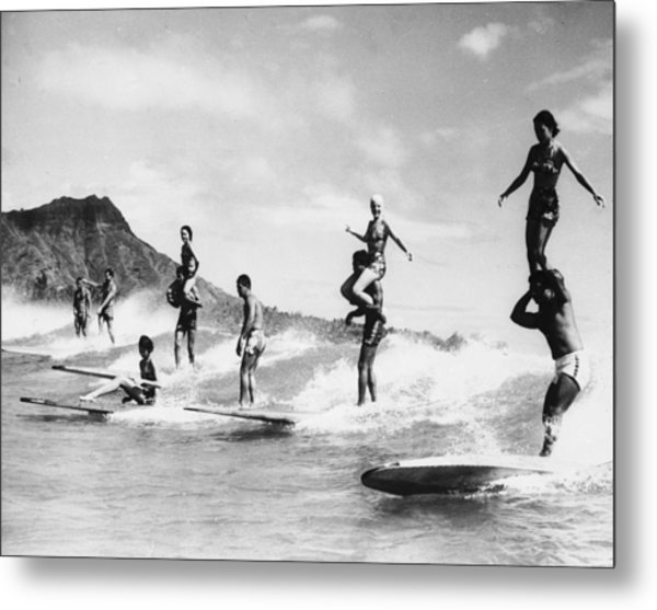 Surf Stunts Metal Print by Keystone