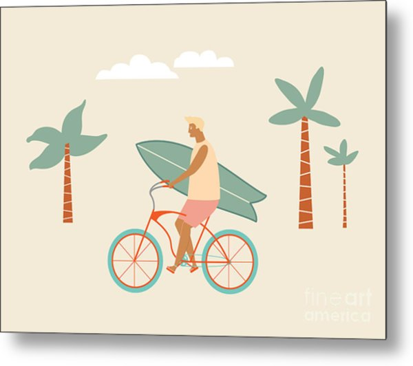 Surfer Bicycle Rider With Surfboard On Metal Print