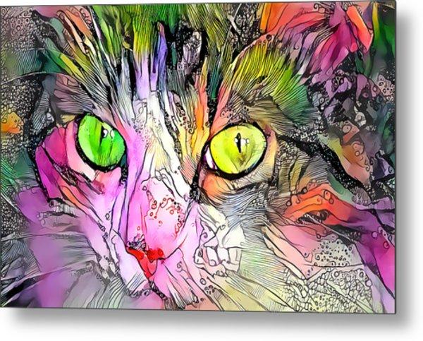 Surreal Cat Wild Eyes Metal Print