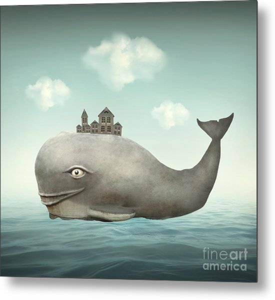 Surreal Illustration Of A Whale In The Metal Print