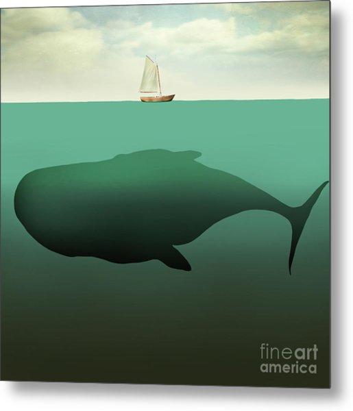 Surreal Illustration Of Little Sailboat Metal Print by Valentina Photos