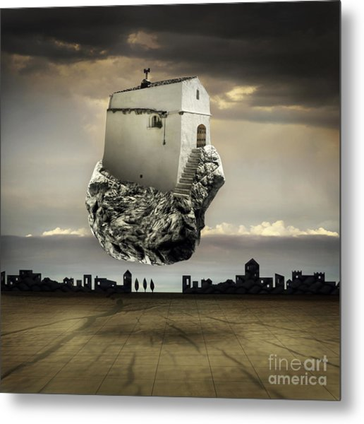 Surreal Landscape With A Flying House Metal Print
