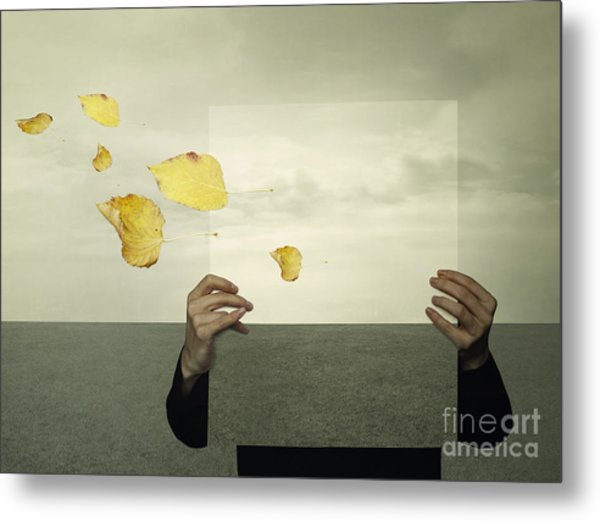 Surreal Landscape With A Person Who Metal Print
