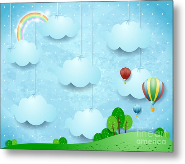 Surreal Landscape With Hanging Clouds Metal Print