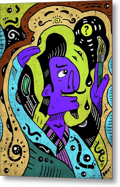 Metal Print featuring the digital art Surreal Painter by Sotuland Art