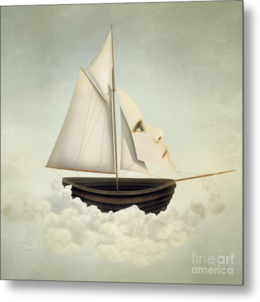 Surreal Vessel Above The Clouds With Metal Print