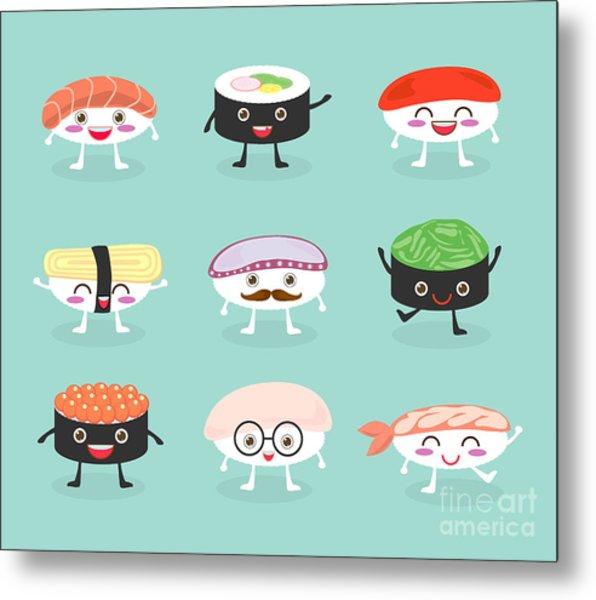 Sushi Set, Cute Sushi Set, Japanese Metal Print