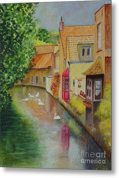 Metal Print featuring the painting Swan Canal by Karen Fleschler