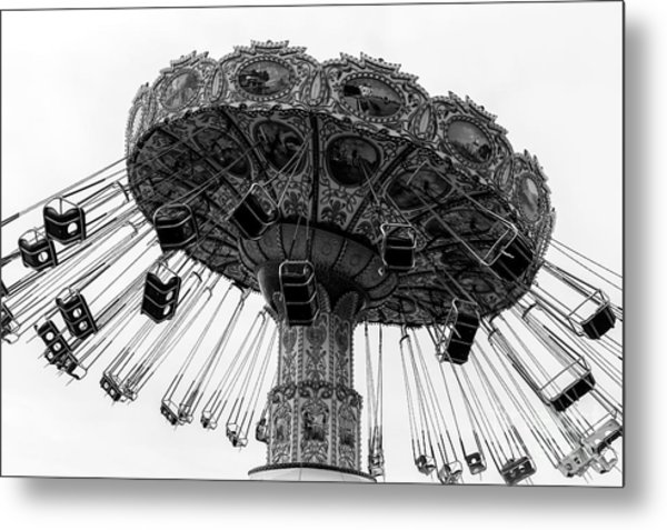 Swinging At Seaside Heights Monochrome Metal Print