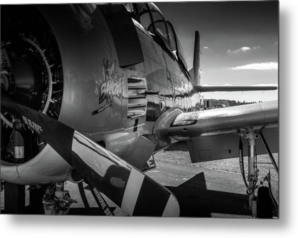 Metal Print featuring the photograph T-28b Trojan In Bw by Doug Camara