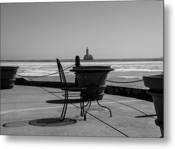 Table For One Bw Metal Print