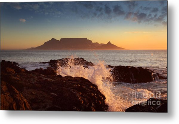 Table Mountain With Clouds, Cape Town Metal Print