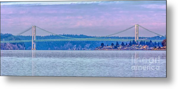 Tacoma Narrows Bridge Landscape Metal Print by Jean OKeeffe Macro Abundance Art