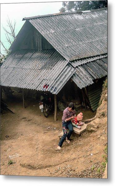 Taking Care Of Baby In Sapa, Vietnam Metal Print