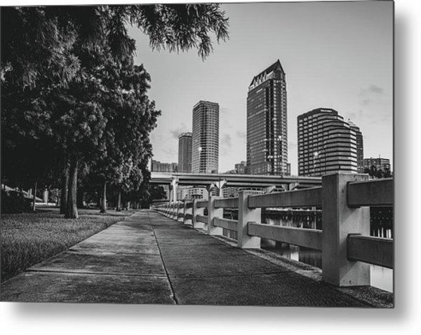 Tampa Florida Riverwalk View In Monochrome Metal Print by Gregory Ballos