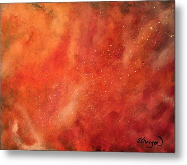 Tangerine Nebula Cloud Metal Print