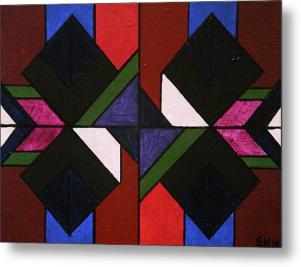 Metal Print featuring the painting Tangram Art Number 5 Stained Glass by Samantha Galactica