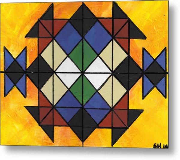 Metal Print featuring the painting Tangram Art Number 6  Geometric Sunburst by Samantha Galactica
