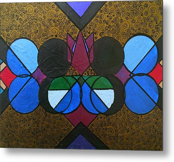 Metal Print featuring the painting Tangram Art Number 8 Bronzed by Samantha Galactica